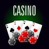 Icono del club del casino con cuatro as y microprocesadores de juego Fotografía de archivo libre de regalías