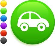 Icono del coche en el botón redondo del Internet Imágenes de archivo libres de regalías
