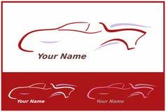 Icono del coche en el rojo para el diseño de la insignia Foto de archivo libre de regalías