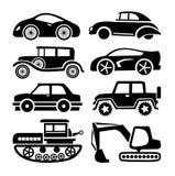 Icono del coche, sistema negro del vector del transporte Imágenes de archivo libres de regalías
