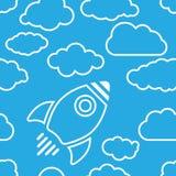 Icono del cohete blanco con las nubes en un fondo del aire azul - Fotos de archivo libres de regalías