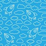 Icono del cohete blanco con las nubes en un fondo del aire azul - vector libre illustration