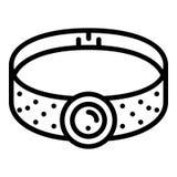 Icono del collar de la piedra preciosa, estilo del esquema stock de ilustración