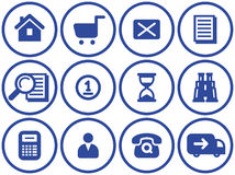 Icono del comercio electrónico fijado (vector) stock de ilustración