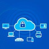 Icono del concepto de la seguridad de la nube con el candado Fotografía de archivo libre de regalías