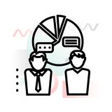 Icono del concepto de las relaciones de negocios y de la distribución del mercado con el fondo abstracto ilustración del vector