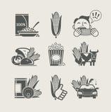 Icono del conjunto del maíz y de productos Fotografía de archivo libre de regalías