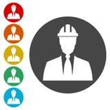 Icono del contratista, icono de los trabajadores stock de ilustración