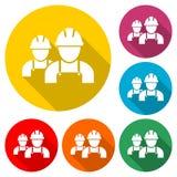 Icono del contratista, icono de los trabajadores, icono del color con la sombra larga ilustración del vector