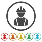 Icono del contratista, icono de los trabajadores, 6 colores incluidos libre illustration