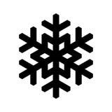 Icono del copo de nieve Tema de la Navidad y del invierno Ejemplo simple del negro plano en el fondo blanco Foto de archivo