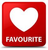 (Icono del corazón) botón preferido del cuadrado rojo Foto de archivo libre de regalías