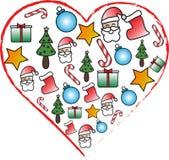 Icono del corazón con símbolos de la Navidad ilustración del vector