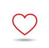 Icono del corazón Corazones alineados rojo con amor Foto de archivo libre de regalías