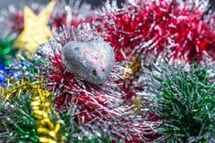 Icono del corazón y decoración de la Navidad Fotos de archivo libres de regalías