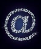Icono del correo de E hecho de diamantes stock de ilustración