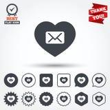 Icono del correo del amor Símbolo del sobre Muestra del mensaje Foto de archivo libre de regalías