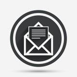 Icono del correo Símbolo del sobre Muestra del mensaje Fotos de archivo libres de regalías
