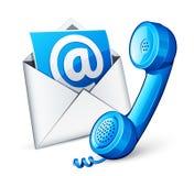 Icono del correo y teléfono azul Fotografía de archivo libre de regalías