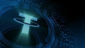 Icono del cryptocurrency de la correa de la proyección del hud del holograma de la mano del hombre de negocios stock de ilustración