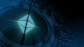 Icono del cryptocurrency del ethereum de la proyección del hud del holograma de la mano del hombre de negocios stock de ilustración