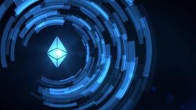 Icono del cryptocurrency del ethereum de la proyección del hud del holograma de la mano del hombre de negocios libre illustration