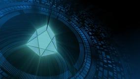 Icono del cryptocurrency del FOE de la proyección del hud del holograma de la mano del hombre de negocios ilustración del vector