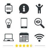 Icono del cuaderno y del smartphone Símbolo elegante del reloj stock de ilustración