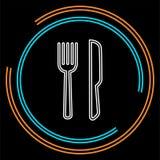 Icono del cuchillo y de la bifurcación, cubiertos aislados, menú del restaurante del vector libre illustration