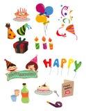 Icono del cumpleaños de la historieta Foto de archivo