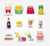 Icono del cumpleaños de la historieta Fotos de archivo