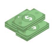 Icono del dólar, diseño plano Dólares del dinero aislados en el fondo blanco Ejemplo del vector, clip art Fotos de archivo