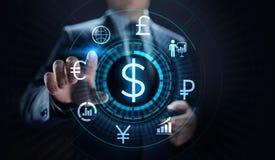 Icono del dólar en la pantalla Concepto del negocio de las divisas de la tarifa del comercio de divisas foto de archivo