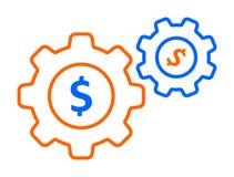 Icono del dólar del engranaje ilustración del vector