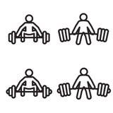 Icono del deadlift del levantamiento de pesas en cuatro variaciones Ilustración del vector Imagenes de archivo