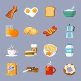 Icono del desayuno plano Imagenes de archivo
