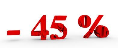 icono del descuento del 45 por ciento en el fondo blanco 3D Fotografía de archivo