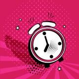 Icono del despertador en estilo del arte pop en fondo rosado Ilustración del vector libre illustration