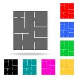 icono del dibujo de la casa Elementos de las propiedades inmobiliarias en iconos coloreados multi Icono superior del diseño gráfi stock de ilustración