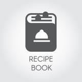 Icono del dibujo del libro de la receta en estilo plano Logotipo del libro de cocina para diversos proyectos culinarios Ilustraci Foto de archivo libre de regalías