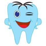 Icono del diente con el ojo feliz de la sonrisa y del guiño Stock de ilustración