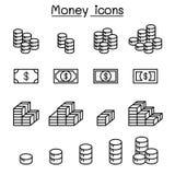 Icono del dinero, de la ganancia, de la renta, de la ventaja, del beneficio y de las monedas fijado en fino libre illustration