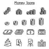 Icono del dinero, de la moneda, del efectivo, de las monedas y de los billetes de banco fijado en línea fina libre illustration