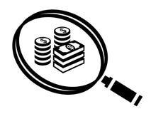 Icono del dinero del hallazgo de la lupa ilustración del vector