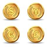 Icono del dinero en circulación de oro Fotos de archivo