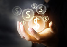 Icono del dinero en mano del negocio Imagen de archivo libre de regalías