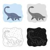 Icono del dinosaurio del mar en estilo de la historieta aislado en el fondo blanco Dinosaurios y vector prehistórico de la acción stock de ilustración
