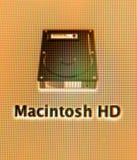 Icono del disco duro de Macintosh HD visto en un iMac Fotos de archivo
