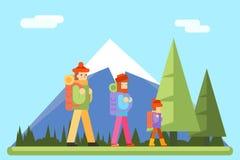 Icono del diseño de Autumn Family Trip Concept Flat Fotos de archivo