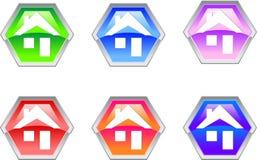 Icono del diseño de la insignia de la casa del hexágono Fotos de archivo libres de regalías